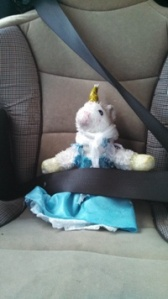 Unicorn all buckled up.